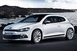 A Volkswagen Scirocco, pictured somewhere other than the United States, yesterday