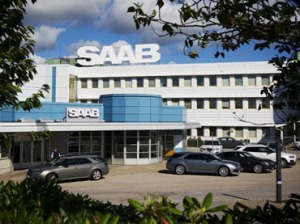Some buildings that say Saab on them, yesterday