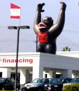 A giant gorilla increasing car sales, yesterday