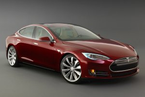 A Tesla Model S making stock prices fluctuate, yesterday